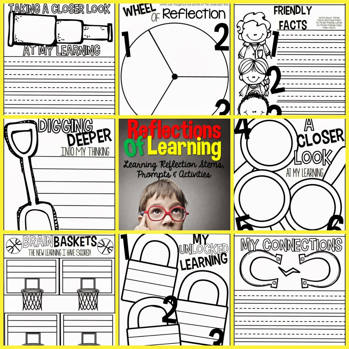 http://www.teacherspayteachers.com/Product/Reflections-of-Learning-Printables-and-Activities-for-Student-Reflection-1151182