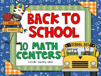http://www.teacherspayteachers.com/Product/Back-To-School-10-Math-Centers-273519