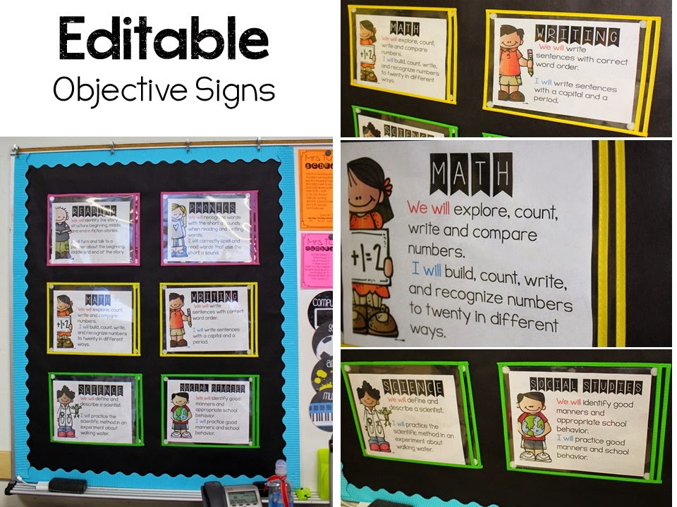 http://www.teacherspayteachers.com/Product/Editable-Objective-Signs-1425439