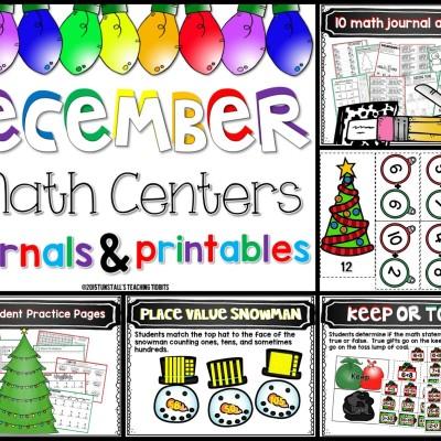 December Math Games, Journals, and Printables