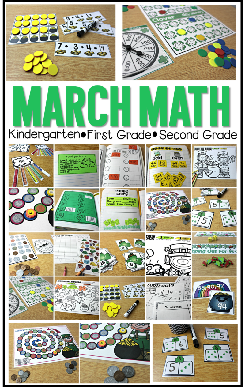 march math activities for kindergarten, first grade, and second grade