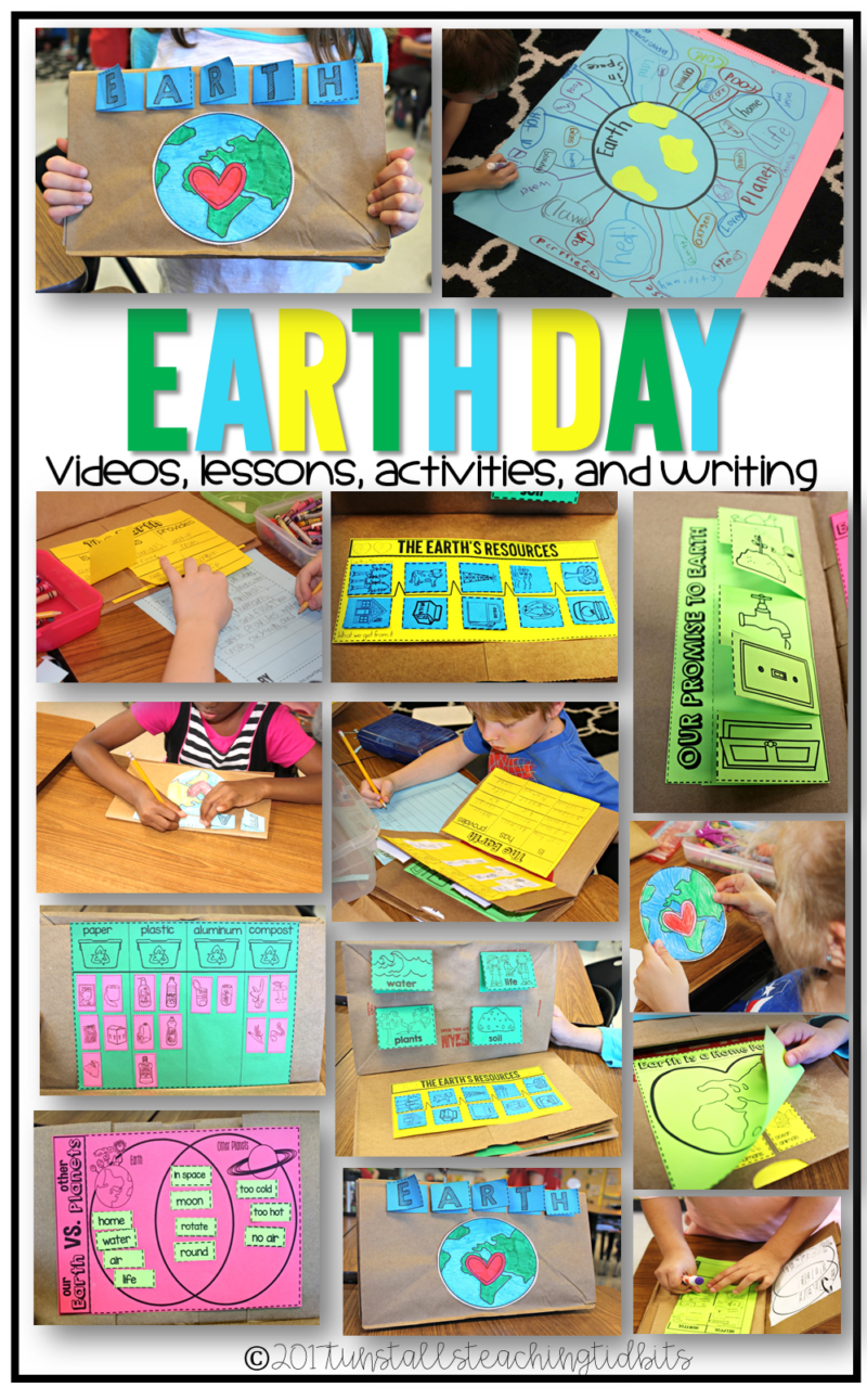 earth day videos, lessons, activities, and writing for first and second grades
