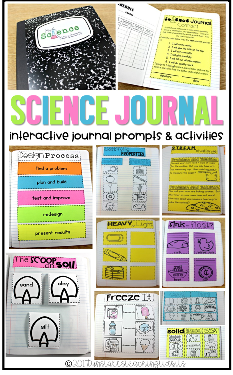 science journal interactive prompts and activities for first grade terrific for a science notebook