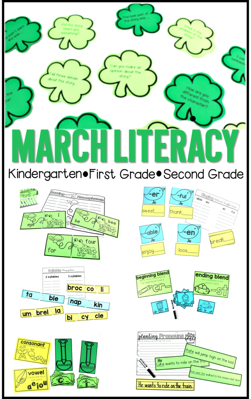 March literacy activities for kindergarten, first grade, and second grade