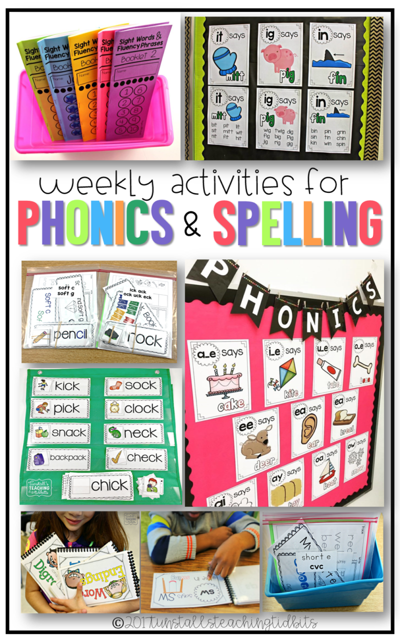 weekly activities for spelling and phonics first grade kindergarten
