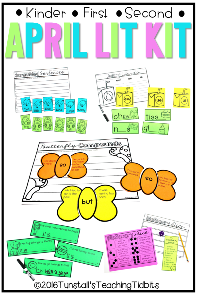 April Lit Kit, literacy for kindergarten, first grade, and second grade