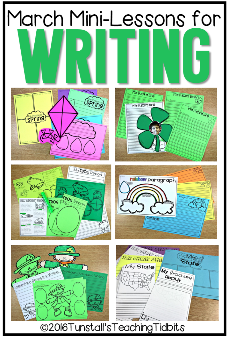 March writing mini-lessons for kinder, first grade, and second grade