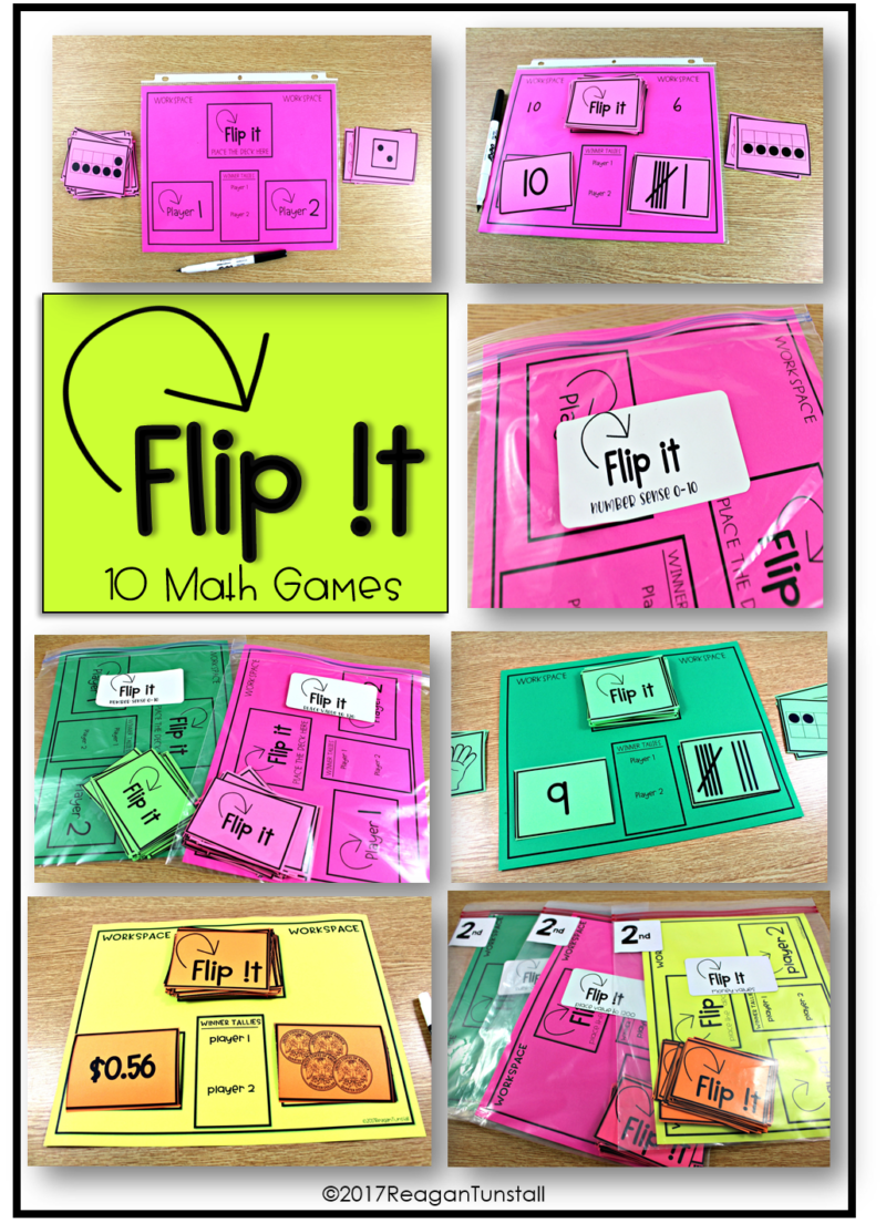 flip it 10 math games first grade, second grade, third grade