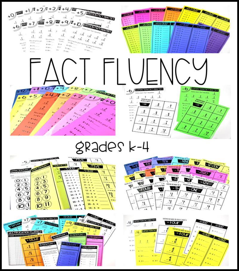 math fact fluency addition subtraction multiplication division kinder, first, second, third