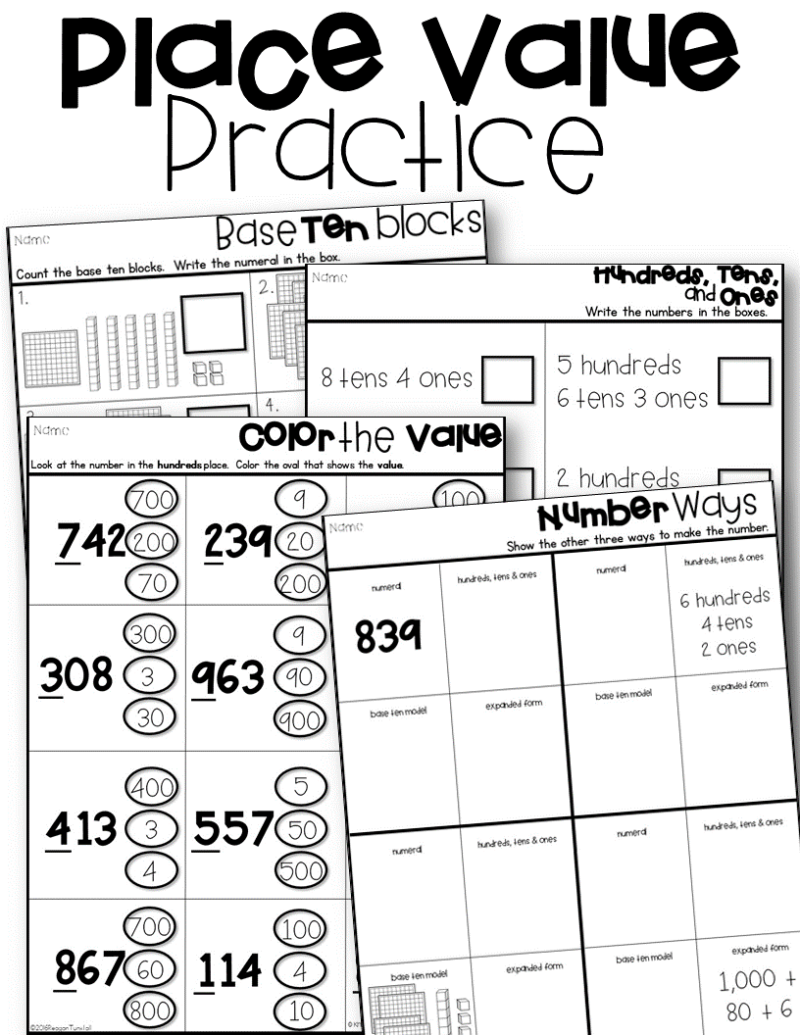 worksheet Place Value Practice place value lessons and workstations tunstalls teaching tidbits kinder has math supplements numbers 11 20 other sets that will provide the same helpful practice 3rd 4th have problems of t