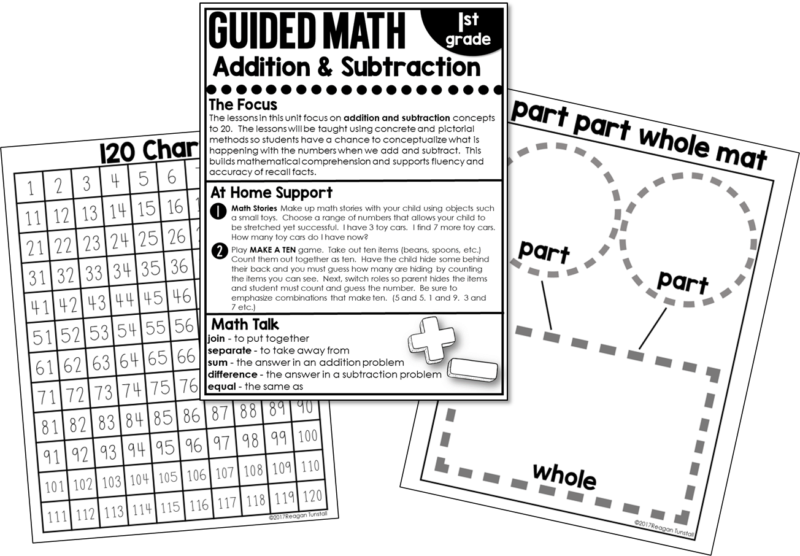 "Home connections: Designed to connect work students do during math block with families at home. An alternative to homework but allows students to practice skills with minimal help and little written work. Created for no homework policy schools, schools whose students don't do homework, or for teachers to give to help parents help their child. For grades kindergarten, first grade, and second grade. Read ""The Great Homework Debate"" www.tunstallsteachingtidbits.com"