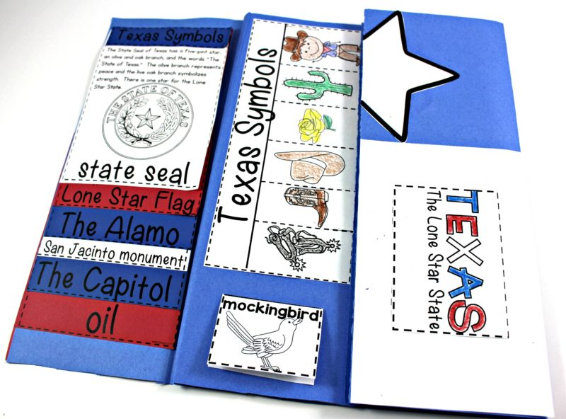 "Texas Symbols and Landmarks, A keepsake book all about the state of Texas for your social studies lessons! This social studies foldable book is packed with learning activities for first grade and second grade. There's information on important Texas buildings and resources. From the Texas pledge to descriptions and pictures for the state bird, flower, mammals, and so much more. For more about social studies classroom ideas on ""Texas Symbols and Landmarks"" at www.tunstallsteachingtidbits.com"