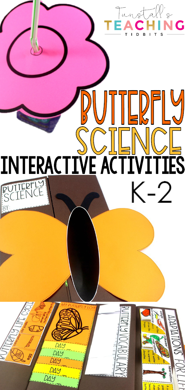 "This interactive butterfly science unit provides interactive activities to teach all about butterflies! Fill a science notebook or create a 3-dimensional butterfly science book with interactive, hands on science lessons on parts of a butterfly, butterfly life cycle, butterfly facts, adaptations, butterfly experiment, & more! This lap book foldable makes a great STEM resource for kindergarten, first, & second grade. To learn more about ""Butterfly Interactive Science"", visit www.tunstallsteachingtidbits.com"