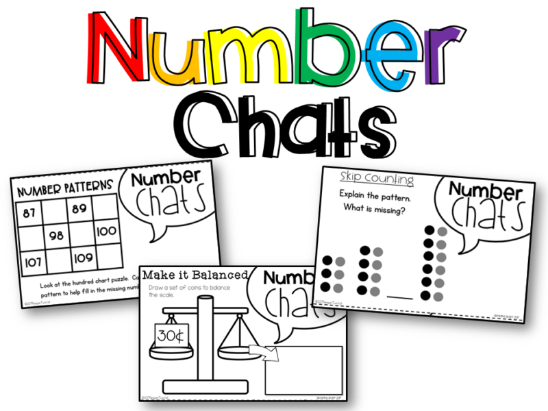 Math Supplements Number Chats for kindergarten, first grade, and second grade allow teacher to use number talks easily! Number chats can be projected or placed under a document camera at the start of a math lesson or as a discussion point in a math meeting! Topics: number sense, addition, subtraction, place value, geometry, money, telling time, graphs & data, measurement.www.tunstallsteachingtidbits.com