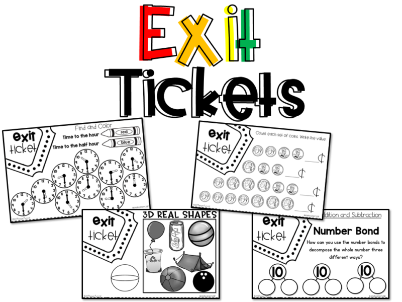 Math Supplements Exit Tickets for kindergarten, first grade, and second grade allow teacher to take a grade on student learning! Exit tickets are the perfect lesson closer, mini-assessment, or guided practice activity. Topics: number sense, addition, subtraction, place value, geometry, money, telling time, graphs & data, measurement.www.tunstallsteachingtidbits.com