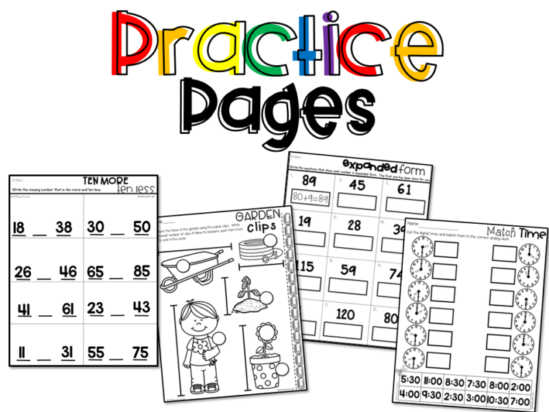 Math Supplements Practice Pages for first grade kindergarten and second grade allow teacher to take a grade on student learning! Available in color and black & white. Place these printable practice pages in a workstation or math center for independent practice and skills refinement. . Topics: number sense, addition, subtraction, place value, geometry, money, telling time, graphs & data, measurement. www.tunstallsteachingtidbits.com