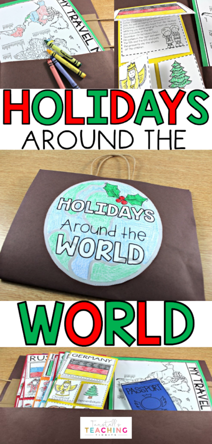 Staying on track with teaching in December. Holidays Around the World This unit provides interactive activities to study world holidays on a trip around the world. Students will see what other countries do to celebrate the holidays. The unit includes a detailed paragraph of each holiday customs with highlighted vocabulary. These vocabulary words match directly with the flip-flap pictures for students to write about the concept under each flap.
