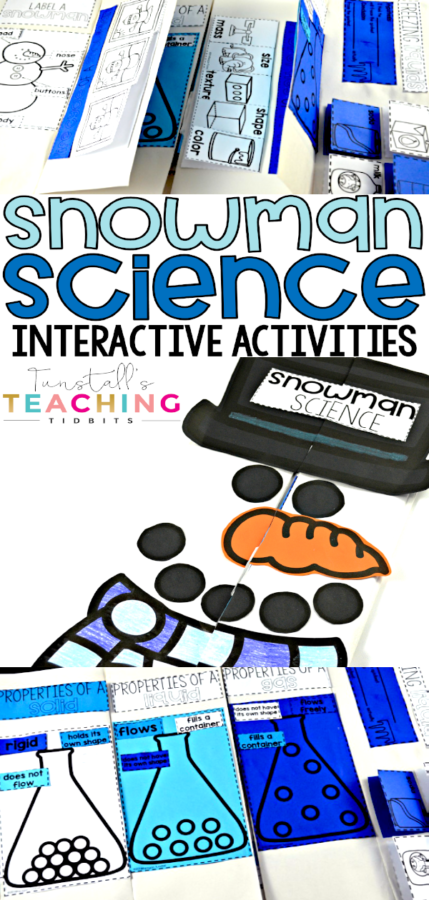 This unit provides interactive activities to teach all about states of matter with a related science theme of snowmen! Tie in a fascinating subject like snowmen, ice, and snow your science standards with this winter unit. Fill your own science notebook or create a 3 dimensional science book full of interactive hands on science lessons!