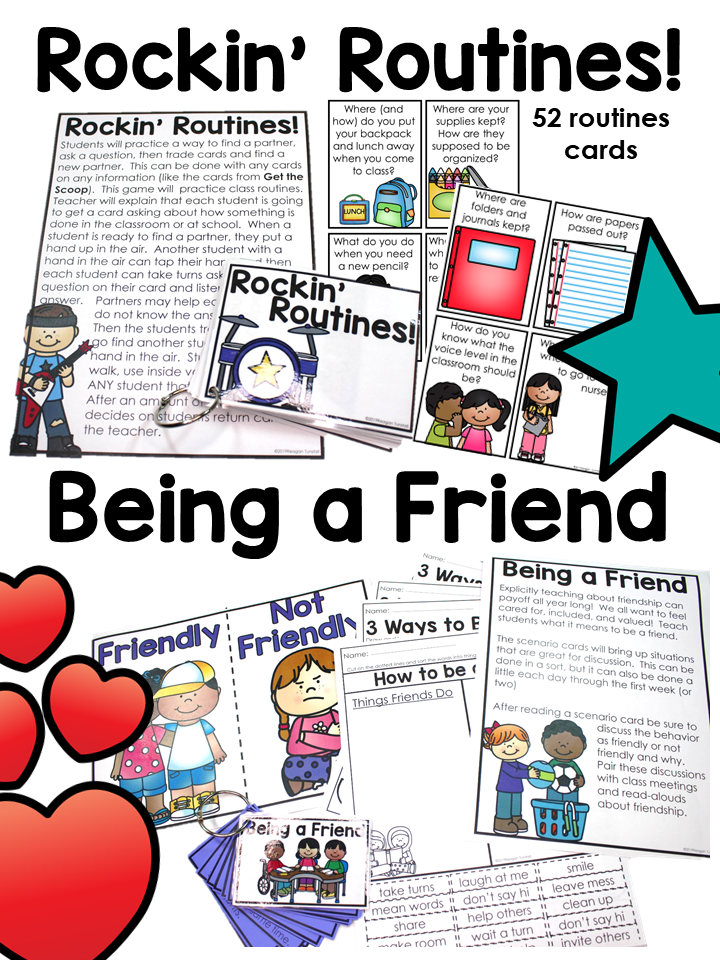 First week favorites provides 6 class meetings on setting up rules, good habits, partner play, routines, and being a friend. Create a classroom community and fill up a keepsake backpack with all of the learning! Kindergarten, first, and second grades.