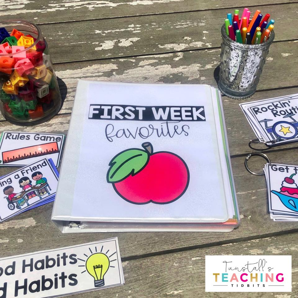 First week favorites provides 6 class meetings on setting up rules, good habits, partner play, routines, word lessons, and being a friend. Create a classroom community and fill up a keepsake backpack with all of the learning! Kindergarten, first, and second grades.