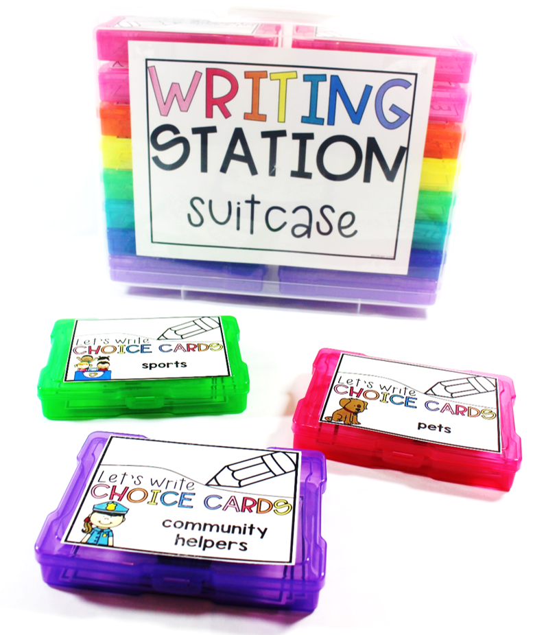 Topic cards for writing station