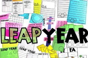 The items in this Leap Year resource span the grade level standards for Kindergarten, first grade, and second grade.