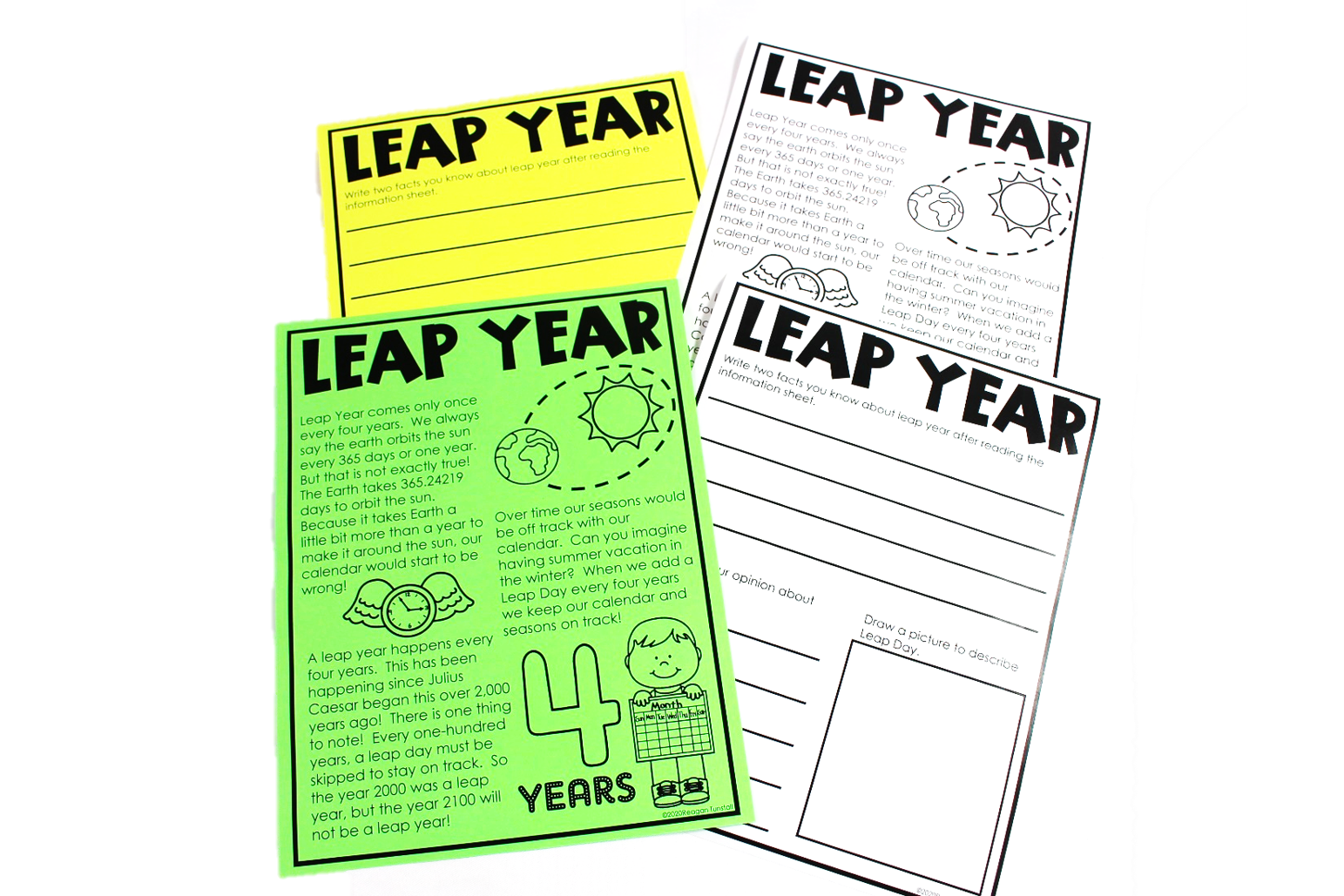 an information sheet which can be used in any way that fits your learners! This can be used for a close read activity or to simply read and share the information with your class about why leap day has come to be.