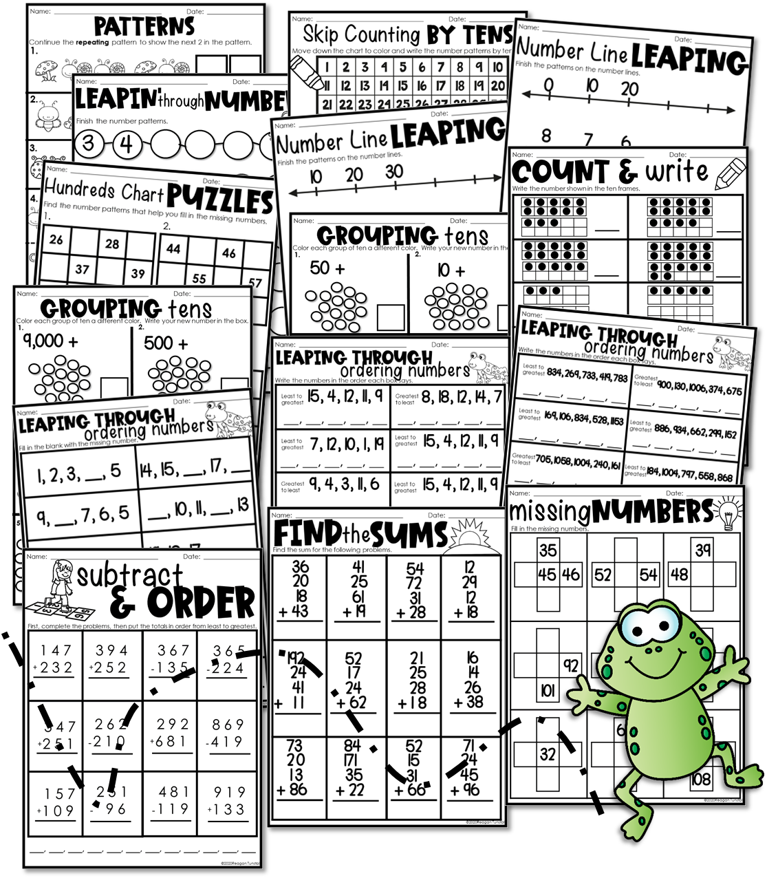 15 different skill pages to fill your week! These skill pages include skip counting, addition and subtraction, place value, and more.