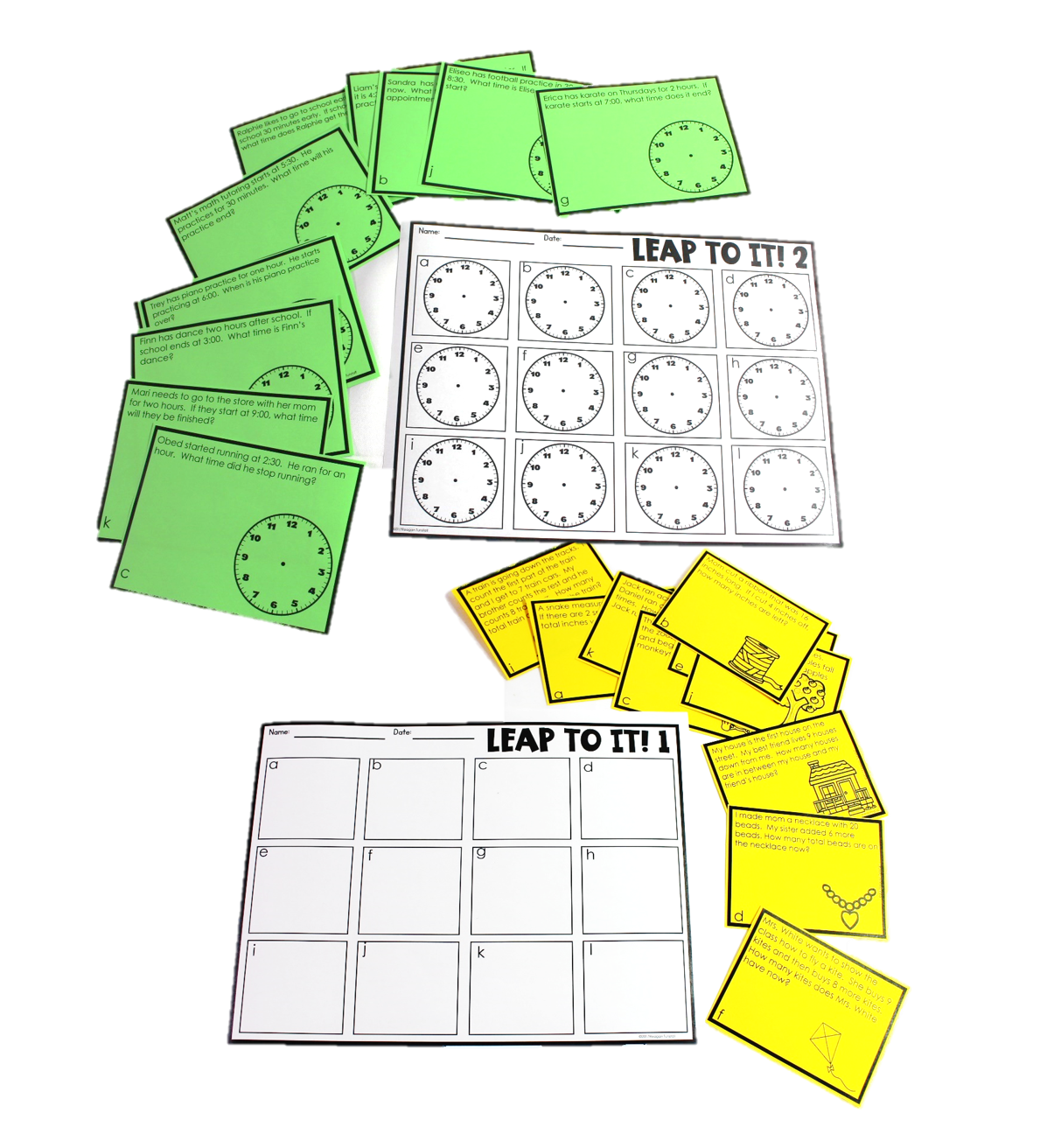 There are two task card style games in the resource as well. I personally would put these around the room and have students hopping to each card with their recording sheet.