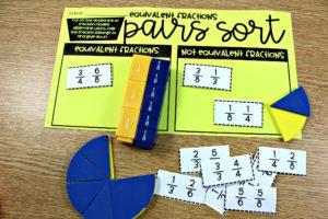 third grade math centers fraction sort