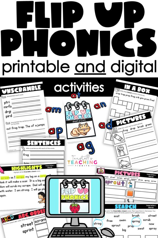 flip up phonics instruction printable and digital