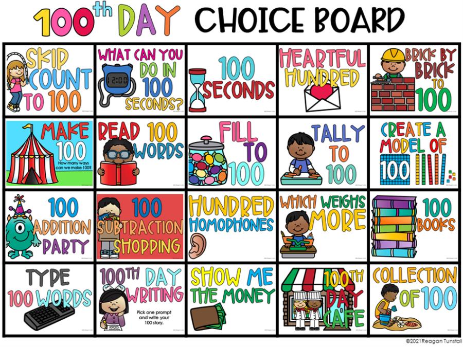 digital 100th day choice board