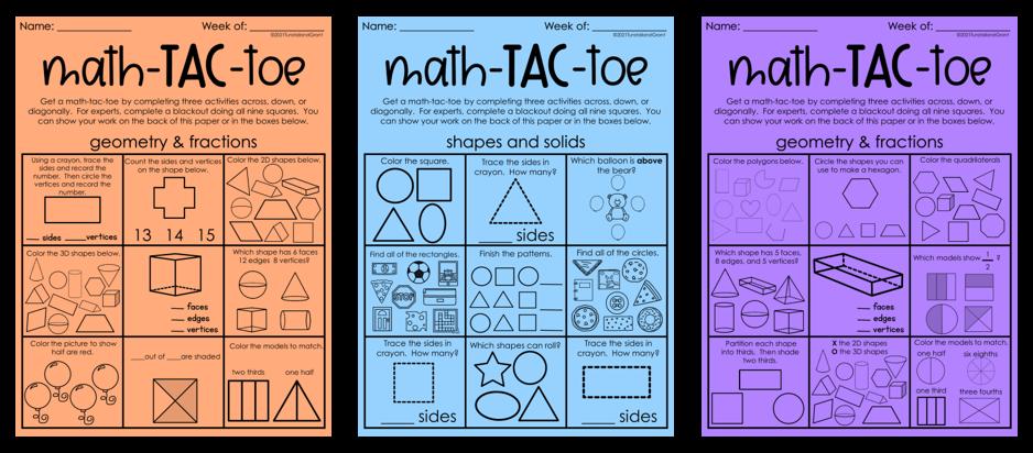 Math-Tac-Toe for fast finishers