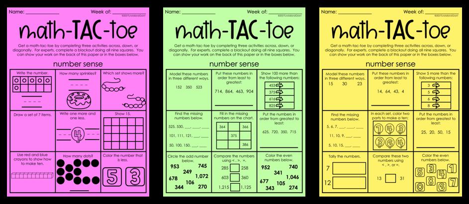 Math-Tac-Toe 10 Math Review Resources