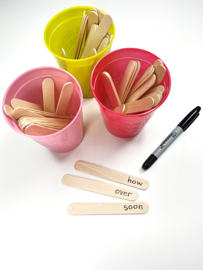 sight word sticks cups